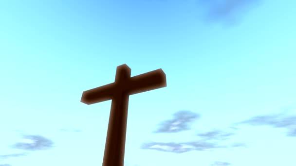 Křížová krucifix s časem, mraky, smyčka křesťan