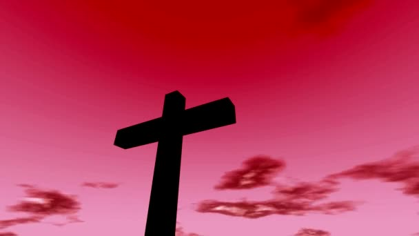 Kereszt feszület idővel megszűnik felhők piros ég és v. Christian Rapture