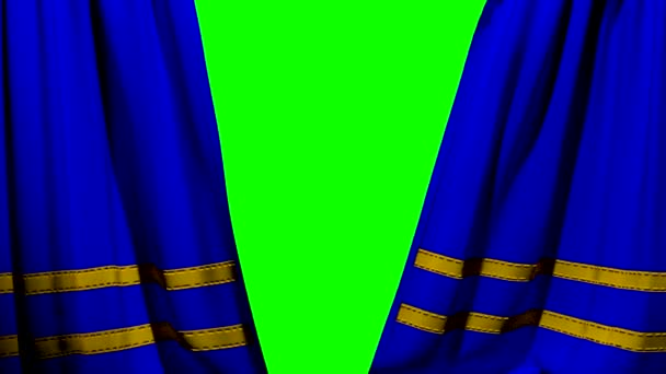 Curtains opening and closing stage theater cinema blue with trim greenscreen key
