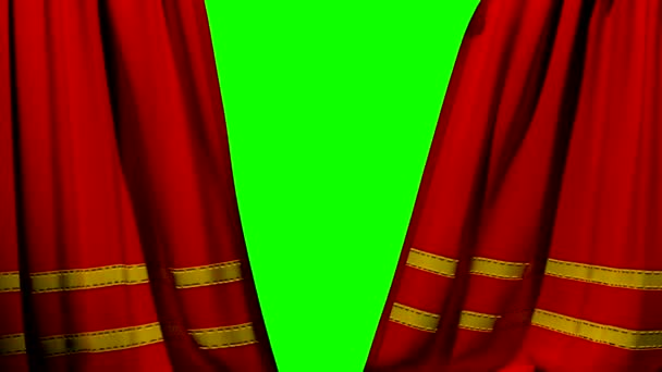 Curtains opening and closing stage theater cinema red with trim green screen key