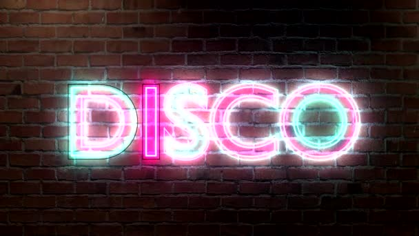 Disco logo neon lights sign on brick wall text glowing multicolor