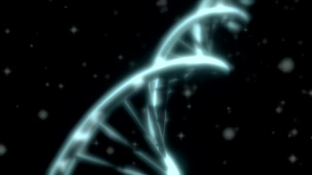 DNA spinning RNA double helix slow tracking shot closeup depth of field white
