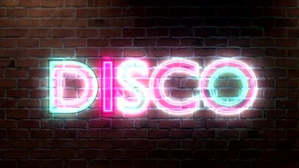 Disco logo neonová světla podepsat na cihlovou zeď textu zářící vícebarevná