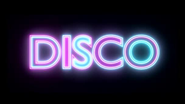 Disco neon sign lights logo text glowing multicolor