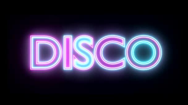 Disco neon znamení světla logo text zářící vícebarevná