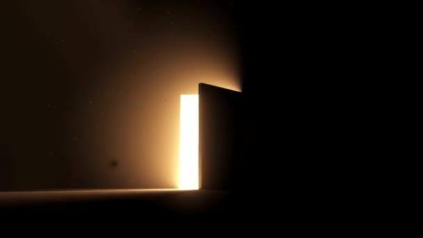 Dveře otevřené na jasné světlo teplé žluté nové příležitosti epiphany posmrtný život