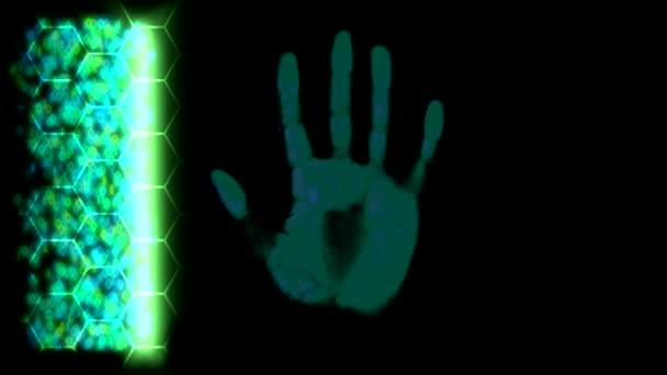 Kézi szkenner handprint ujjlenyomat palm jelszó azonosítás zöld