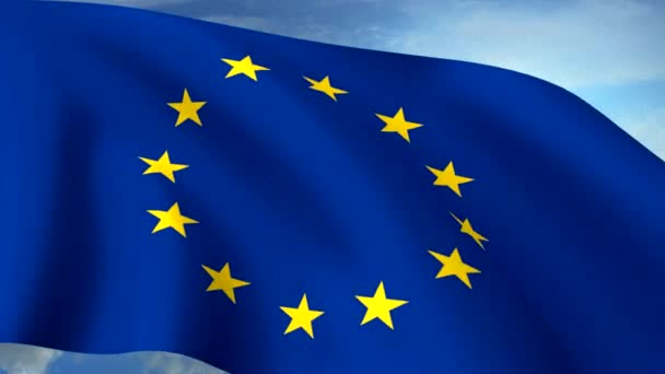Euro Europe Flag Closeup Waving Against Blue Sky Seamless Loop CG