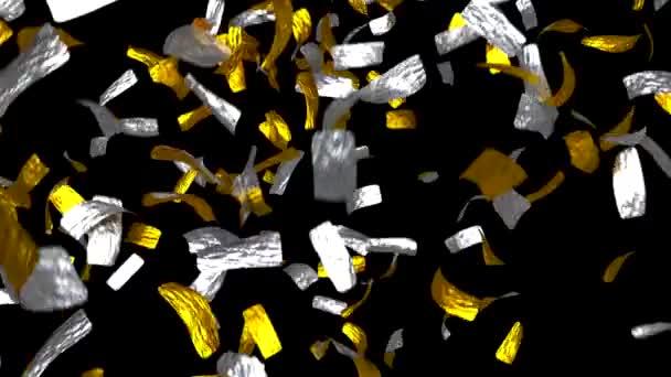 Zlaté a stříbrné lístky, padající listí peníze vyhrát tokeny