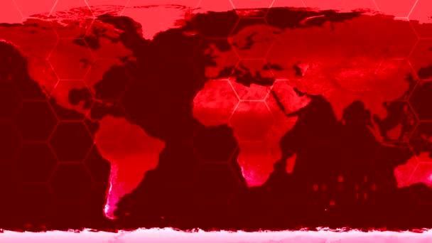World map high tech digital satellite data view war room loop red war CRT