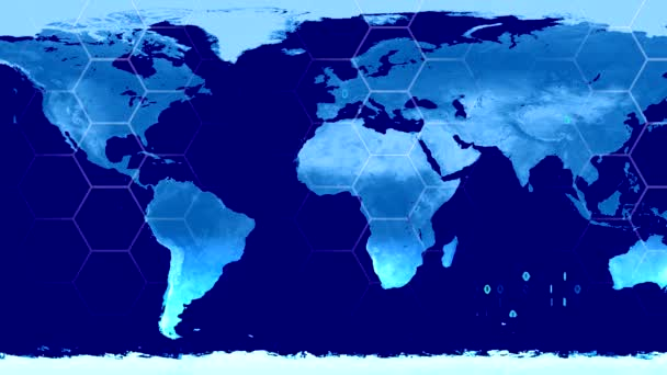 Digital Map Of The World.World Map High Tech Digital Satellite Data View War Room Loop Blue