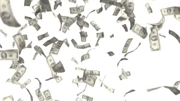 Peníze padající dolarů finanční výhru nám měna daňové bílé pozadí