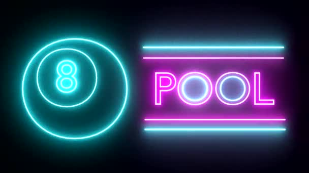 Pool billiards neon sign lights logo text glowing multicolor