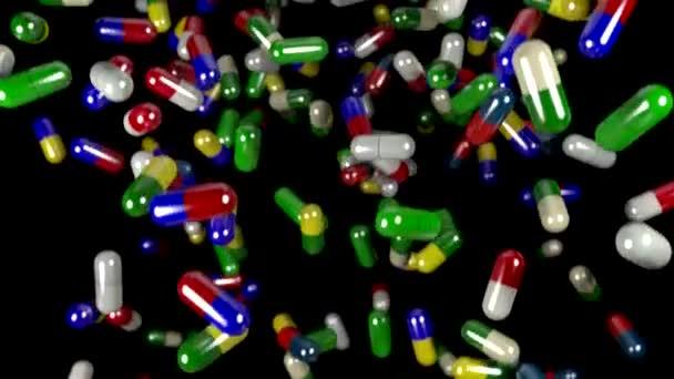 Pills drugs capsules falling slow motion closeup DOF loop