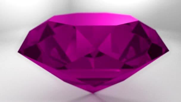 Pink ruby diamond gemstone gem stone spinning wedding background loop
