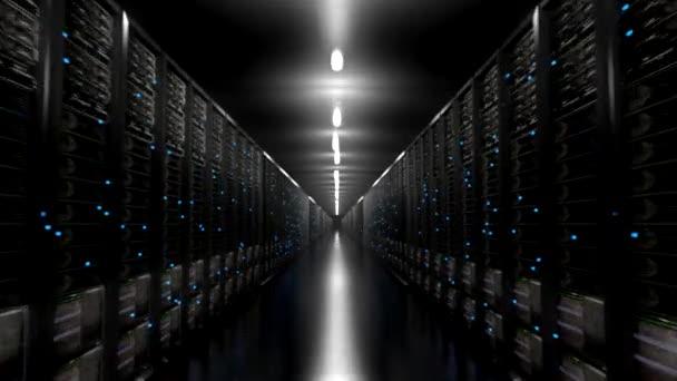 Rechenzentrum Server endlosen Korridor Dark Loop-Zentrum