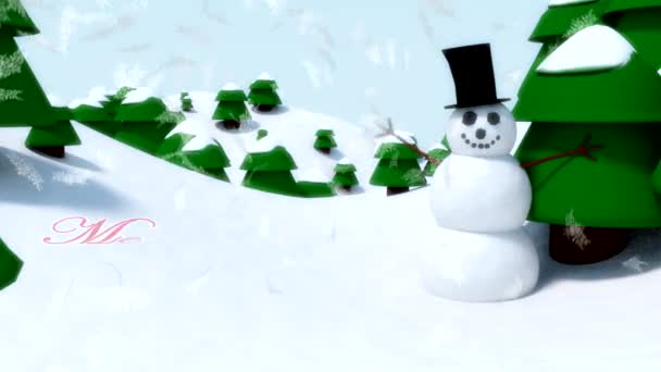Snowman Merry Christmas happy waving animation winter snowflakes falling