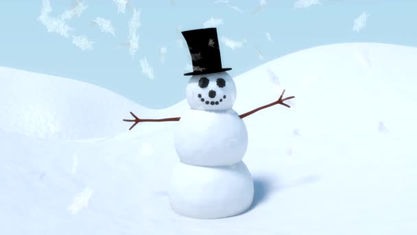 Snowman happy waving animation with winter snowflakes falling