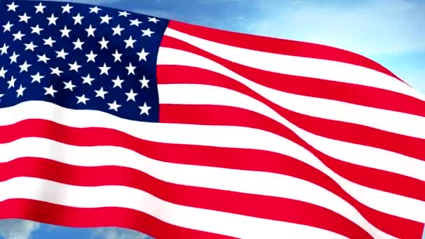 USA US Flag Closeup Waving Against Blue Sky Seamless Loop CG