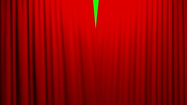 Červené záclony otevírání a zavírání fáze divadlo kino zelené obrazovky