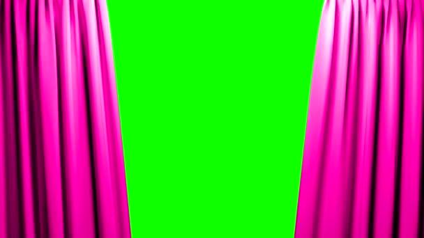 Rosa Vorhänge öffnen und Schließen der Bühne Theater Kinoleinwand grün
