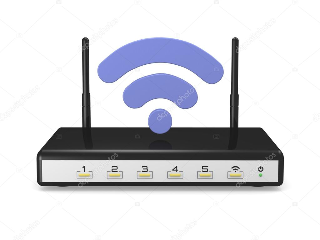 modem router wireless with wifi logo stock photo raffius 70031925. Black Bedroom Furniture Sets. Home Design Ideas