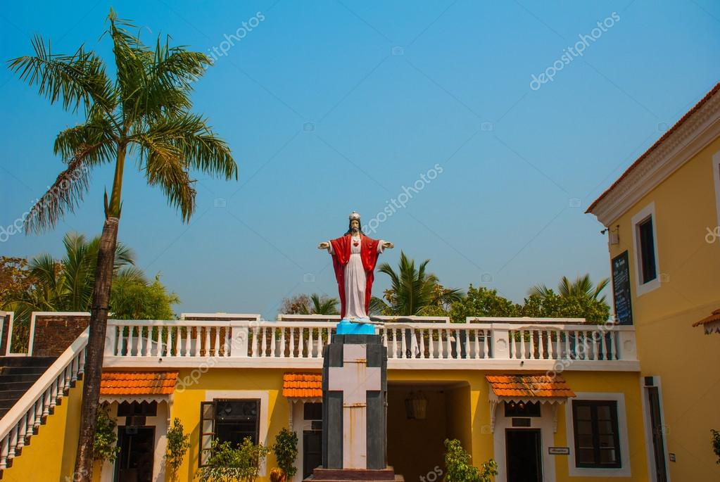 Jesus Christ statue. Fort Tiracol. Goa. India
