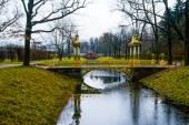 Čínský most přes malý potok. Autumn.Russia,the město Puškin Carskoje Selo. Alexander park.