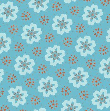 Orange patterns on a blue background. 7