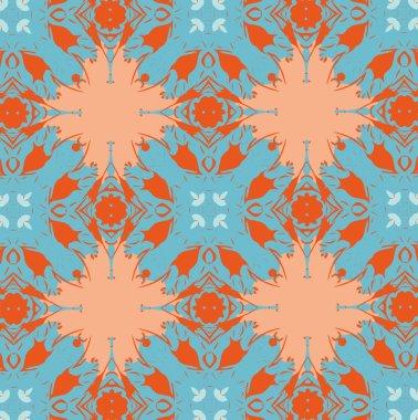 Orange patterns on a blue background. 6