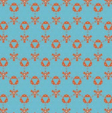 Orange patterns on a blue background. 3