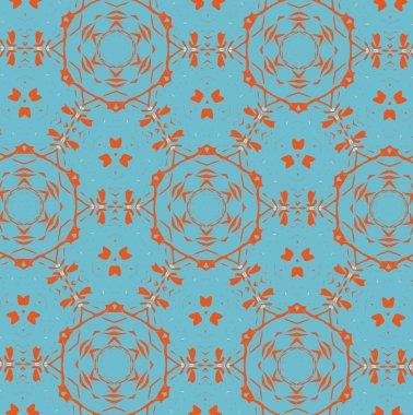 Orange patterns on a blue background. 1
