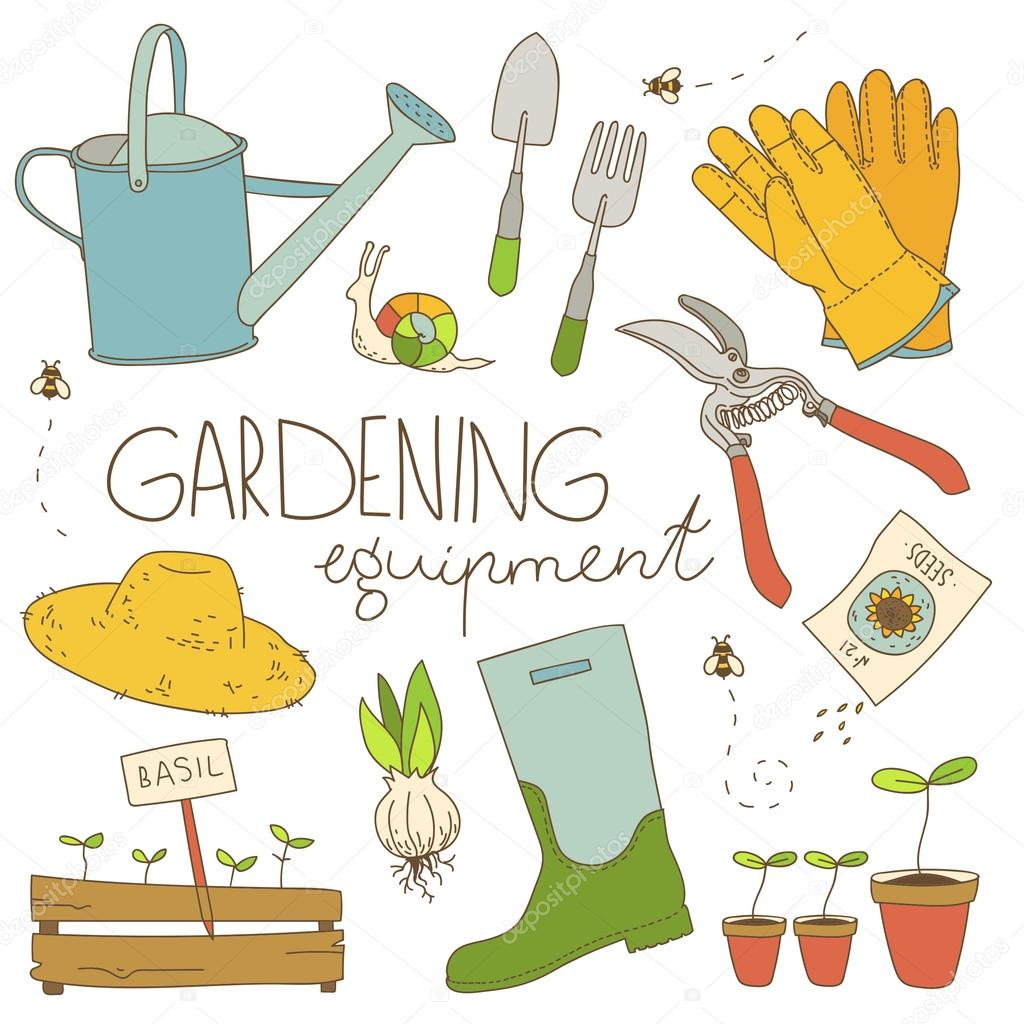 Gardening equipment color illustration