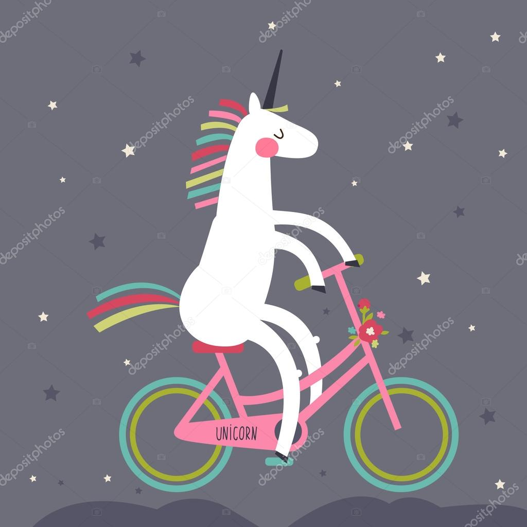Cute unicorn on a bicycle with a rainbow mane