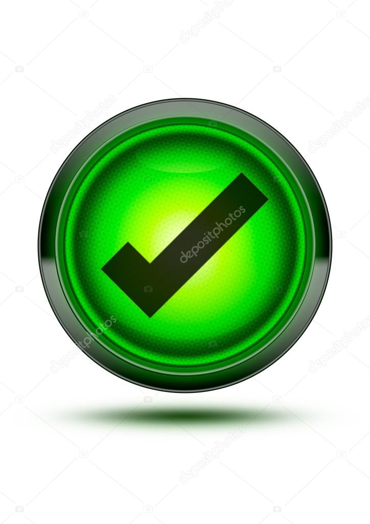 Bright Green Light Button Icon With Chrome Outer Ring And Black