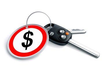 Car keys with financial symbols on keyring