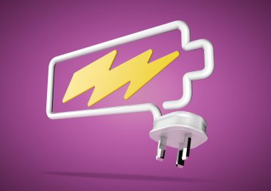 Electricity cable and plug makes battery logo with lightening bo