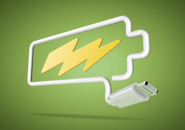 Computer cable and plug makes battery logo with lightening bolt