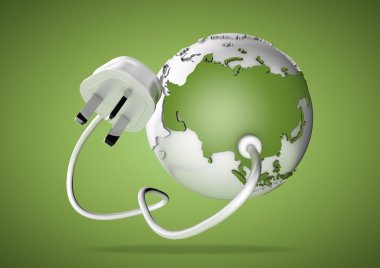 Electrical cable and plug connects power to asia on a world globe. Concept for how asia, china and russia consume electricty and energy and how they need to look for renewable, green, alternative energy solutions like solar energy or wind energy.