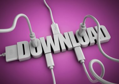 Computer cables and plugs attach to the word 'Download' concept for download data, apps and information off the internet.