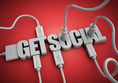 Computer cables and plugs attach to title of the word 'Get Social'. Concept for how the world connects to, and interacts with friend and family via social media and social networks.