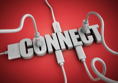 Computer cables and plugs attach to 3d text title Connect. Concept for connecting people and things via the internet and social media. stock vector
