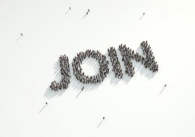Aerial shot of a crowd of people forming the word 'Follow'. Conc