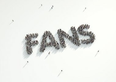 Aerial shot of a crowd of people forming the word 'Fans'. Concep