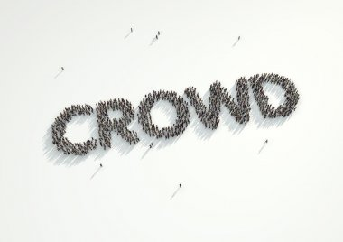Aerial shot of a crowd of people forming the word Crowd. Concept