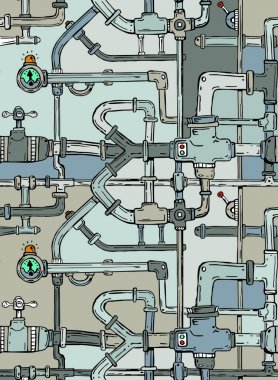 Network of cartoon pipes and plumbing fittings creating an endle