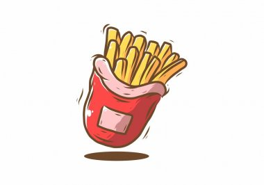 Fried fries fast food in red bag illustration drawing design icon