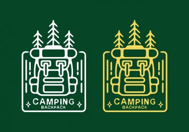 Line art illustration of camping backpack white and yellow color design icon