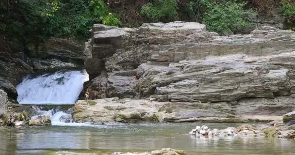 Sheshory waterfalls, Ukraine. Falling water. Wide view.
