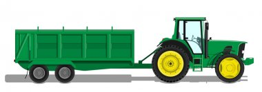 Tractor with trailer side view